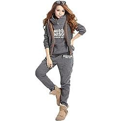 NiSeng Mujeres 3 Piezas Chándal Deportivos Hoodie Abrigo Sweatshirt Sudadera Con Capucha + Chaleco Chaqueta + Pantalones Gris Oscuro M
