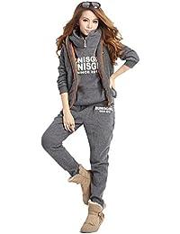 NiSeng Mujeres 3 Piezas Chándal Deportivos Hoodie Abrigo Sweatshirt Sudadera con Capucha + Chaleco Chaqueta + Pantalones