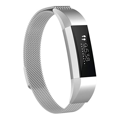 JiaMeng Banda De Reloj De Pulsera Banda Magn¨¦tica milanesa del Reloj Elegante del Acero Inoxidable del Lazo para Fitbit Ace (4.8-6.5)(G,Tama?o Libre)