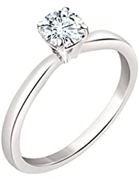 Silvernshine 7mm D/VVS1 Diamond Solitaire Engagement Ring 4 Prong In 14K White Gold Plated