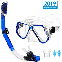 OUTERDO Snorkel Set,Diving Mask and Dry Snorkel Diving Goggles,Wide View Anti-Fog Anti-Leak Easy Breathing and Professional Snorkeling Gear for Adults Earplug Mouthpieces