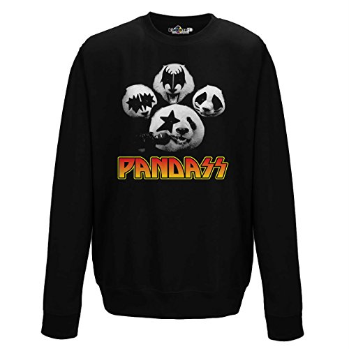 Parodie Panda Kiss Music Hard Rock Schaffung Funny Design Trash, Jet Black (Kiss Panda Jumper)