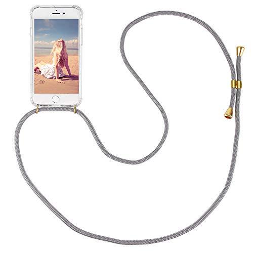 Imikoko Handykette Hülle für iPhone 7 Plus/8 Plus Necklace Hülle mit Kordel zum Umhängen Silikon Handy Schutzhülle mit Band - Schnur mit Case zum umhängen (Grau)
