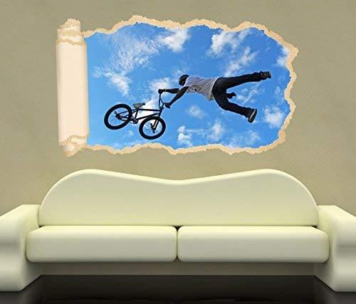 3D Wandtattoo Fahrrad BMX Mountainbike Sport bike Tapete Wand Aufkleber Wanddurchbruch Deko Wandbild Wandsticker 11N1148, Wandbild Größe F:ca. 140cmx82cm
