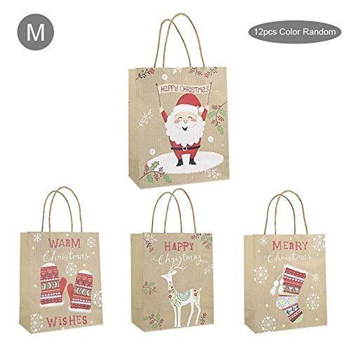 Luerme 12PCS Weihnachtsgeschenkbeutel Kindergeschenkbeutel Papiertüte Einkaufstasche Geschenkbeutel Süße Gunst Party Geschenktüten Weihnachtsschmuck