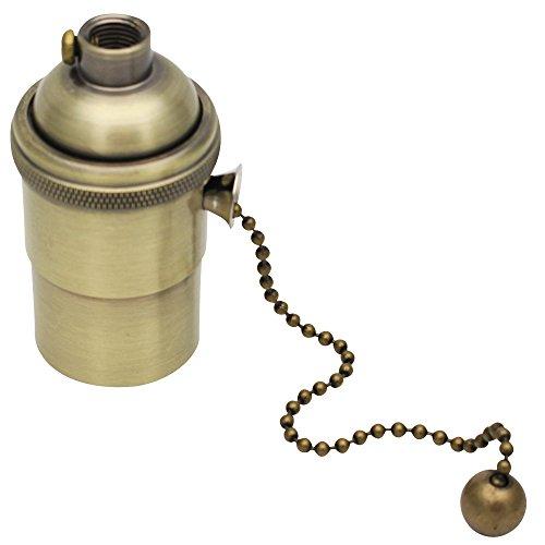 E27 Lampenfassung Kupfer Vintage mit Pull Kette für DIY Edison Pendelleuchte Hängelampe Halter Lampe Zubehör Bronze (Kette Hängelampe Mit)