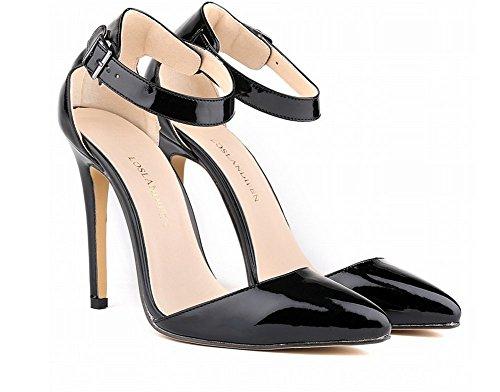 0ca5cf9efccbfe ... Mariage Sexy Mode Talon 11 Cm Femme Noir. Wealsex Escarpins Sandale  Bride Cheville Boucle Vernis PU Cuir Bout Pointu Talon Aiguille Chaussure  de Soirée