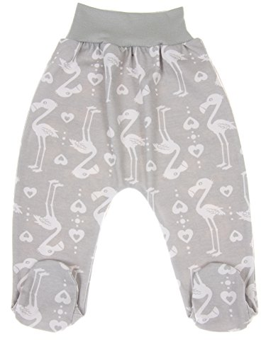 Footed Baby Leggings Trousers Boys Girls 100% Cotton Jersey (62cm (0-3 Months), Flamingo-Grey/White)