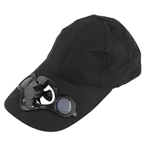 Pesca Sombrero de sombrero deportivo al aire libre de verano con energía solar y ventilador fresco para ciclismo Ahorre energía No se requieren baterías - Negro Solar Sombrero
