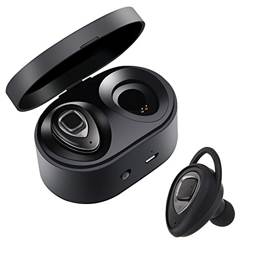 Cuffie bluetooth senza fili – mini auricolari wireless bluetooth xiaowu effetto stereo con microfono incorporato e base di ricarica per iphone 8, 7 plus, samsung, ipad, dispositivi android (k5s-metallic)