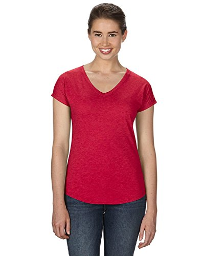 Anvil Damen Tri-Blend V-Neck T-Shirt (3er Set) - Rot - X-Groß -