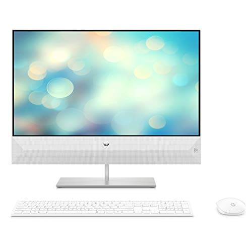 HP Pavilion 24-xa0017nf Ordinateur Tout-en-un 23,8'' FHD Blanc (Intel Core i5, 8 Go de RAM, 1 To de Stockage + 256 Go de SSD, Windows 10)