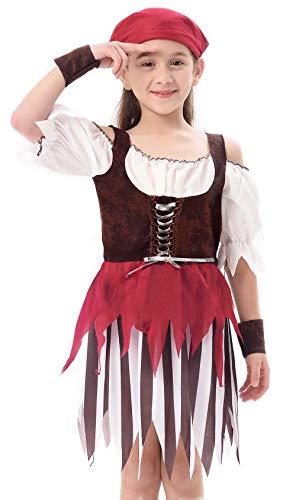 IKALI Pirat kostüm für Kinder Mädchen, Rustikale Maiden Seeräuber Schicken Kleid Aus Der Karibik Rover Rock