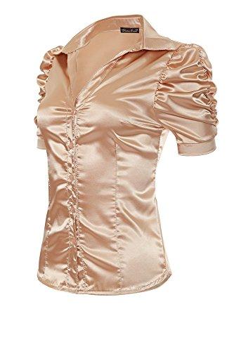 Laeticia Dreams Damen Bluse V-Ausschnitt Kurzarm XS S M L XL XXL,  Farbe Beige. Infos zu den Nutzungsrechten. Bezeichnung, elegante Bluse im  Satin-Look ... 03047bac7b