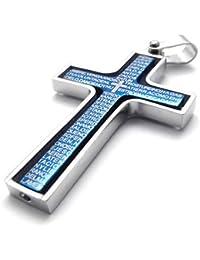 MENDINO joyas para hombre plateado azul Vintage giratorio Biblia Cruz colgante de acero inoxidable collar de cadena
