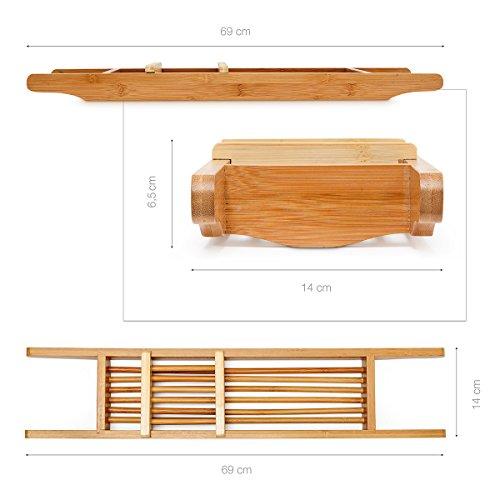 Relaxdays Badewannenablage aus Bambus HxBxT: ca. 6,5 x 69 x 14 cm Badewannenbrücke mit verstellbarer Seifenschale Badewannenbrett als Wannenregal und Badewannenbutler praktischer Wannenaufsatz, natur