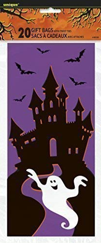 Unbekannt Halloween-Süßigkeiten Tüten Geisterschloss-Tüten 20 Stück lila-schwarz-Weiss 28x13cm Einheitsgröße
