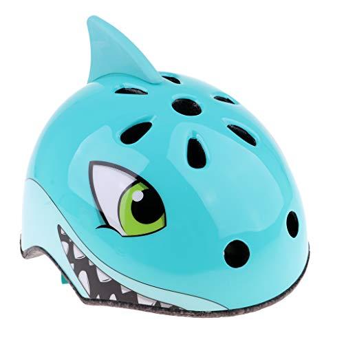perfeclan Tier Form Kinder Helm Sporthelm Leicht Fahrradhelm Motorradhelm Kinderfahrradhelm - Blauer Hai S