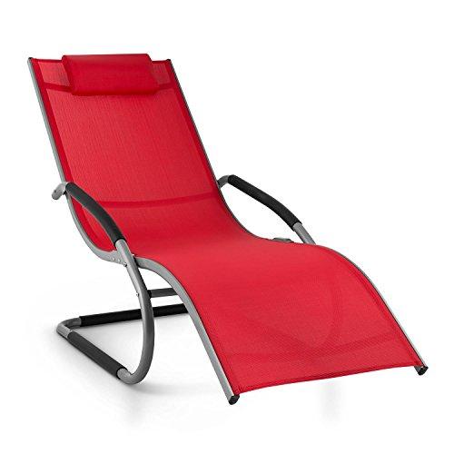 Blumfeldt Sunwave - Chaise longue de jardin avec accoudoirs, transat avec cadre en aluminium et effet bascule - supporte jusqu'à 180kg - rouge