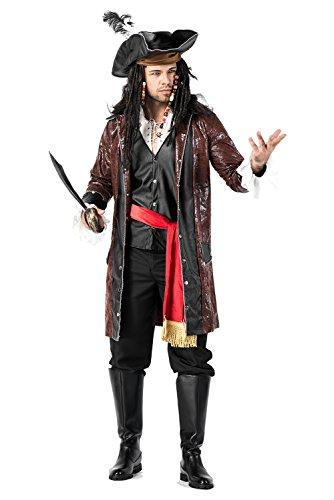 Disfraz de Pirata Capitan para Hombres Set Completo con Cuchillo Imitacion de Cuero