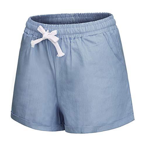 KPILP Frauen Breite Beinhosen Plus Größe Tasche Verband Solide Shorts Laufen Sportschlauch Sommer Weiche Outwear(Blau,EU-52/CN-6XL)
