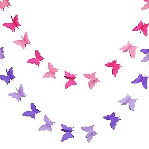 2 Stück 3D Papier Schmetterling Banner Hängende Dekorative Garland für Hochzeit, Baby Dusche, Geburtstag und Thema Dekor, 118 Zoll Lang, Rosa und Lila