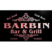 u02263-r BARBIN Family Name Bar & Grill Cold Beer Neon Light Sign Enseigne Lumineuse