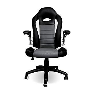 HG® Silla giratoria de oficina Sillón de oficina negro-gris-blanco Silla de oficina Asiento deportivo con brazos Sillón ergonómico Racer Silla de escritorio Capacidad de carga 200 kg respaldo alto