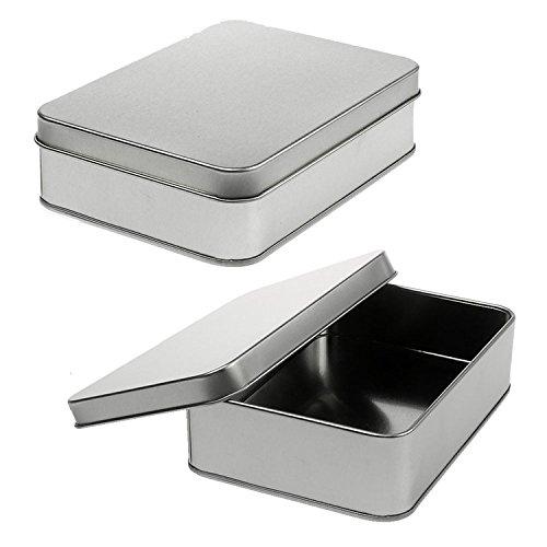 YOUHONG® 2Pack Storage Survival Zinn Silber Mini Kleine leere organisierte Metall Box für Tabak Kopfhörer Organisiert Box