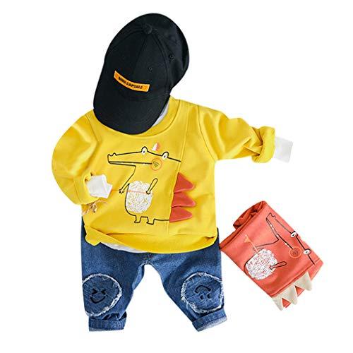 y Playsuit Overall Kaninchen Ohr Badysuit stellt Outfit Pullover Jumper Herbst Frühlings Oberbekleidung Langhülse Knopf unten Hosen EIN (75-80CM, A4-Gelb) ()
