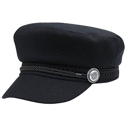Reefa Frauen Zeitungsjunge Cabbie Maler Kappe,Octogonal Knopf beiläufiger Hut für Dame Girls,Schwarzes 56-58CM