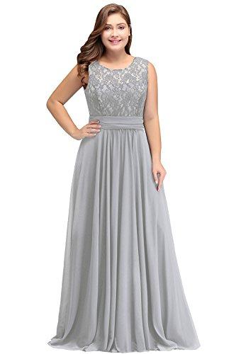 Misshow Damen Übergröße Abendkleid Spitze Chiffon Rückenfrei Elegant Lang Ballkleid Gr.32-52, Silber, 44