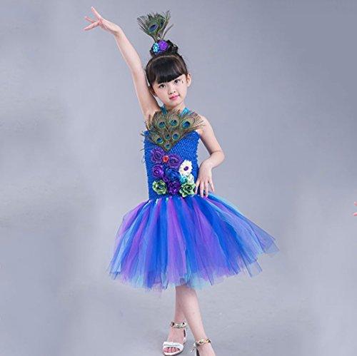 rung Mode Schwalbenschwanz Kleider Kinder Jazz Dance Kostüme Modell Laufsteg Tutu Röcke Vorschule Prinzessin Garn Röcke,Blue,120 (Personalisierte Tutu)