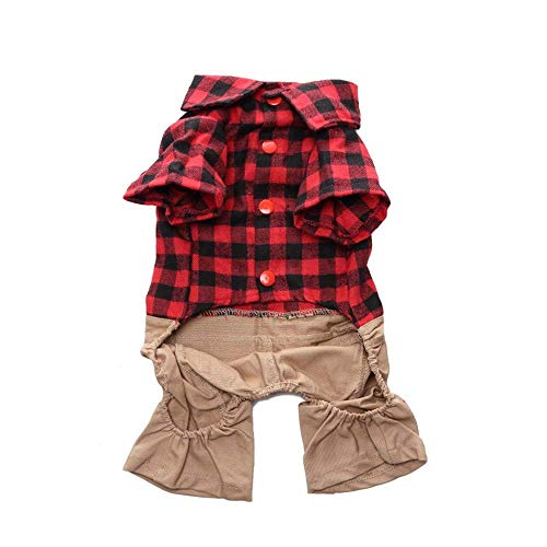 ZTMN Pullover Hund Pet Kleidung Plaid Strap Jumpsuit Hund Kleidung Pet Four Feet Kleidung Kleidung für Hunde (Farbe: Rot, Größe: L) - Plaid Strap