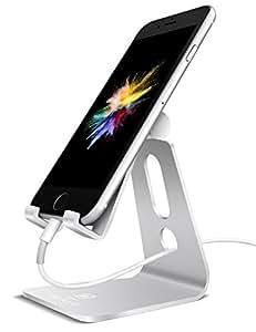 Support Téléphone, Lamicall Multi Position Téléphone Dock : Support Dock pour iPhone X 8 7 6 6s 6s plus 5s 5 4s, Nintendo Switch, HUAWEI, Samsung S8 S7 S6 S5 S4 S3, Bureau, Accessoires, Aluminium, D'autres Smartphones - Argenté