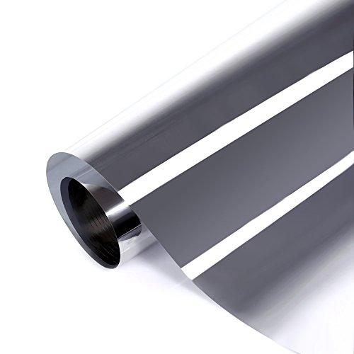verspiegelte Sonnenschutzfolie für Fenster, Sichtschutz und Hitzeschutz Sichtschutzfolie, Spiegelfolie silber, 76cm x 300cm, Fancy-Fix