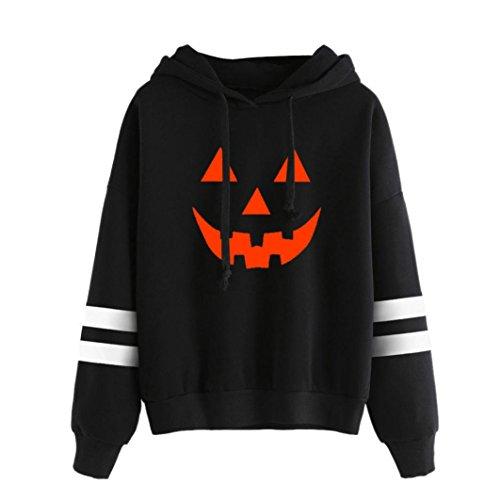 Amlaiworld Halloween Stripe locker Sweatshirt damen mit aufdruck kürbis Kapuzenpullover warm weich Herbst Winter pulli halloween kostüm (L, Schwarz)