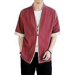 Verano Cloak Cárdigan Kimono Japón Capa para Hombres Mujeres Kimono Jacket Casual Chinese Style Vino Rojo M