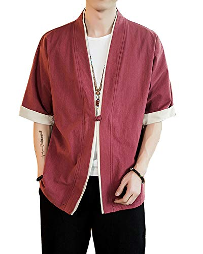 Uomo Cappotto Kimono Giapponese Mens Vintage Cloak Cotton Linen Blends Loose Fit Short Coat Jacket Cardigan Bodeaux XL