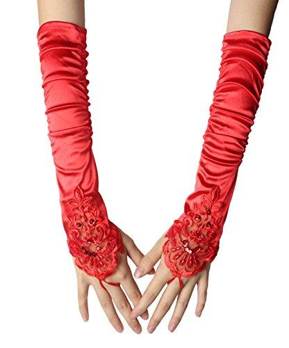 huhe Elastischer Satin Oper Abend Handschuhe Lange Fingerlose 1920er Charleston Handschuhe Spitze Ellenbogen Handschuhe Braut Handschuhe(11) (Lange Rote Satin Handschuhe)