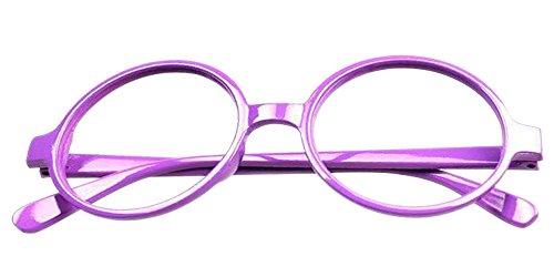 Fuyingda Kinder Runder Gläser Rahmen Retro Nerd Keine Objektive Mädchen & Jungen Dekoration Zubehör Brillen Rahmen, Lila