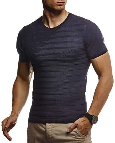 Jungen Muskel T-shirt (Leif Nelson Herren Sommer T-Shirt Rundhals Ausschnitt Slim Fit aus Feinstrick Cooles Basic Männer T-Shirt Crew Neck Jungen Kurzarmshirt O-Neck Sweater Shirt Kurzarm Lang LN7300 D. Blau Large)