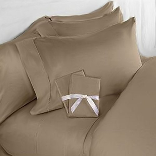 Elegant Comfort 3-teiliges 1500 Fadenzahl Luxus Ultra-weicher Ägyptischer Qualität coziest Bettbezug Set, Natural/Taupe, King/California - Taupe Königin Bettbezug