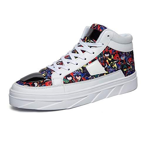 HILOTU Männer Casual Running Sneakers Plattform High Top Board Schuhe Anti-Rutsch-Flat Round Toe Fashion Soft Sneakers (Color : Facial Makeup, Größe : 41 EU)