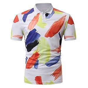 Manadlian Herren T-Shirts Multicolor Herren Tasten Design Hälfte Strickjacken Kurzarm Slim Fit Lässiges T-Shirt Frühling Sommer Herbst