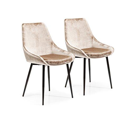 Furnierschichtholz (Kare Design Stuhl East Side 2er Set, Polsterstuhl in Samtstoff, Esszimmerstuhl, Beige (HxBxT) 83x48x57cm)