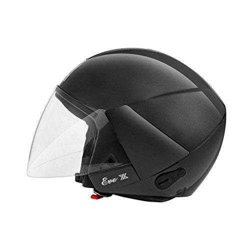Steelbird SB-33 Eve Dashing Open Face Helmet Matt Black Medium 580 MM With Plain Visor