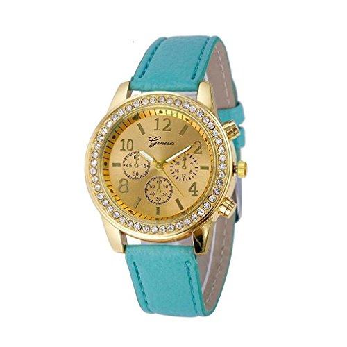 Fitt cristalli per donna guarda faux cronografo quarzo classic cassa rotonda diamond circle orologio da polso da polso (blu)