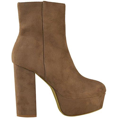 Bottes À Double Plateau Boots Lacgo Heel's Pour Femme Bottes Hautes À Crampons Numéro De Chaussures Mocha Brown Synthetic Suede