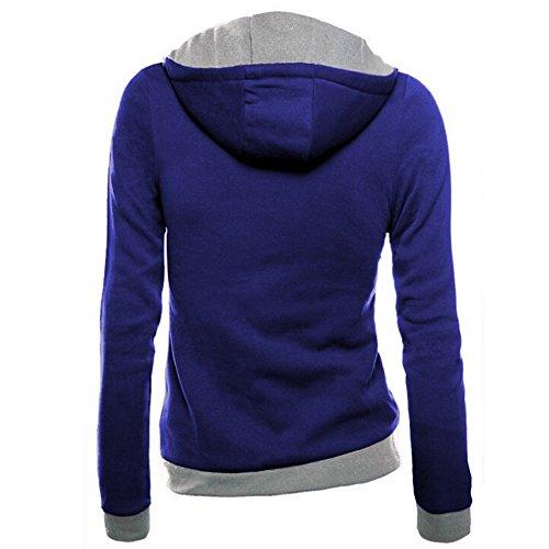 Sweats à Capuche Femme Hiver Pull Manche Longue Encapuchonné Sweat-shirt Zip Hooded Chemisiers Hoodie Tops Chaud Hauts Bleu